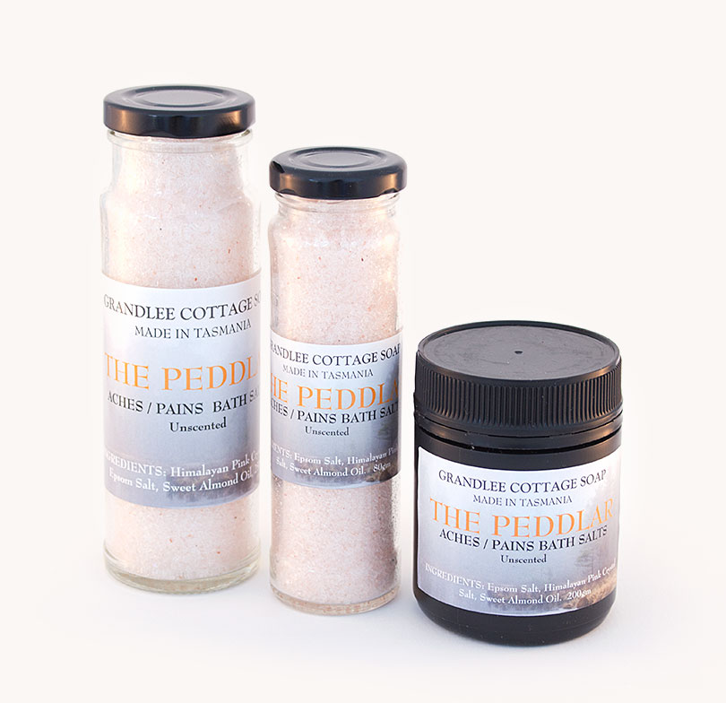 the peddlar aches and pains bath salts TRIO Handmade Tasmania