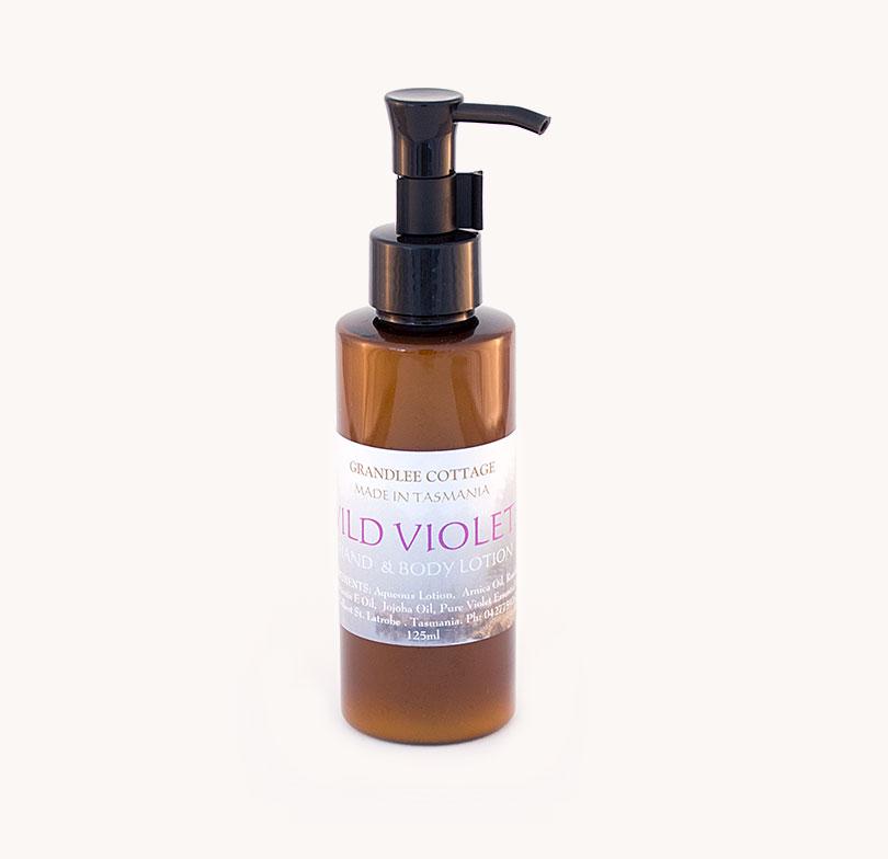 wild violet hand and body lotion 125ml Handmade Tasmania