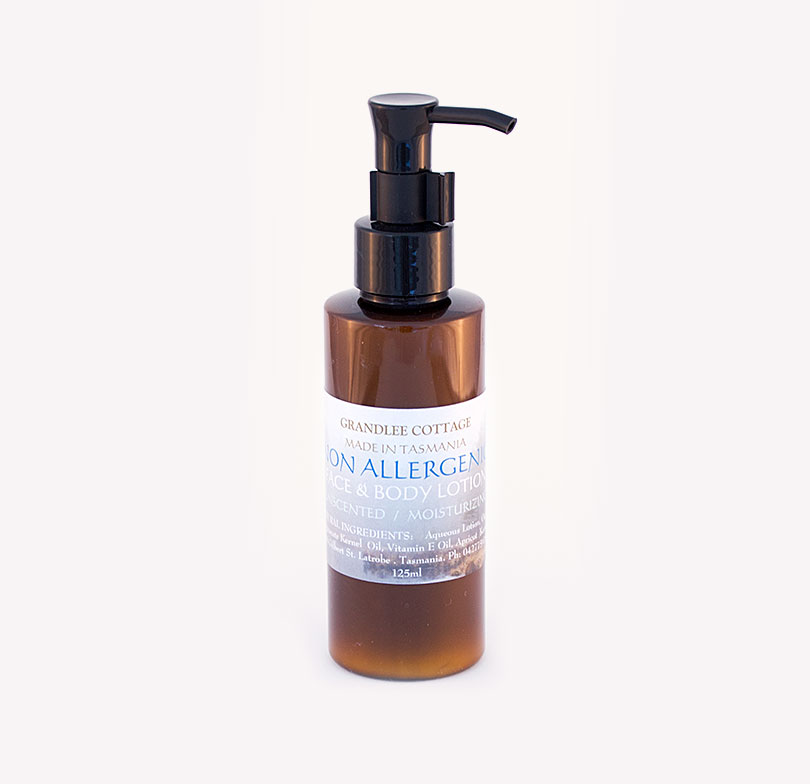 non allergenic face and body lotion unscented 125ml Handmade Tasmania