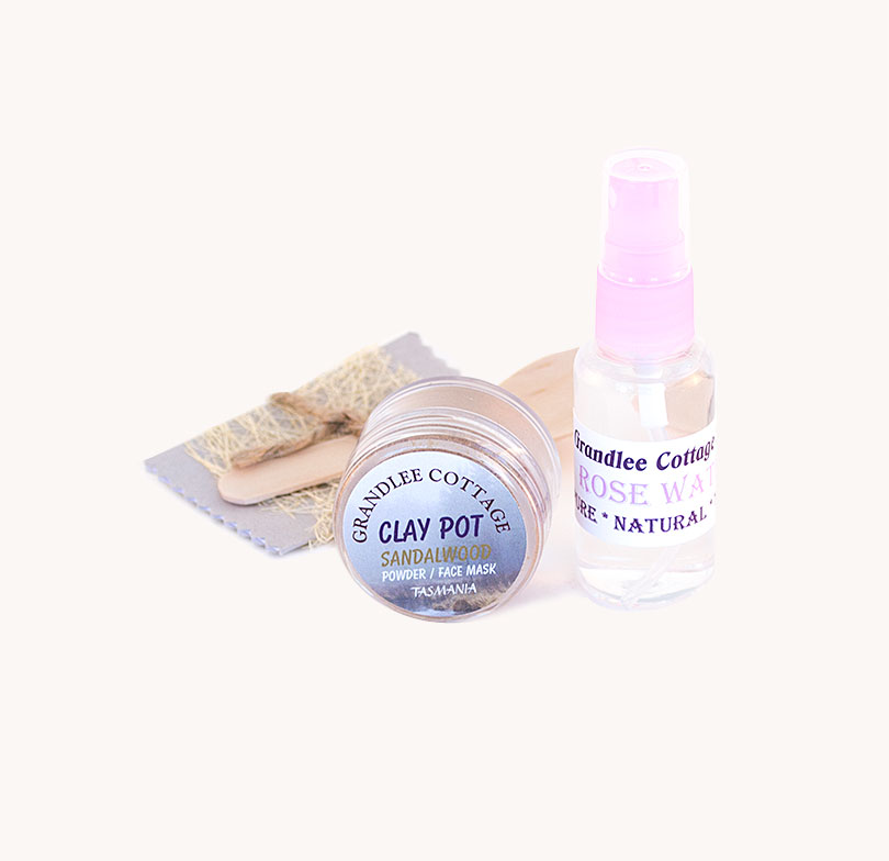 face mask sandalwood clay and mist SET