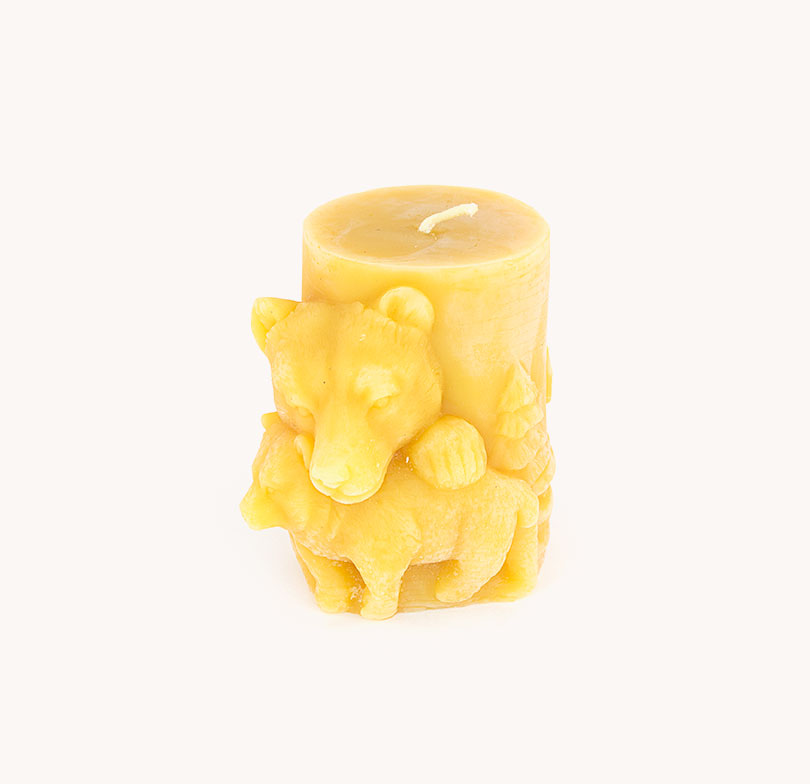 bear beeswax candle tall Natural Handmade Tasmania