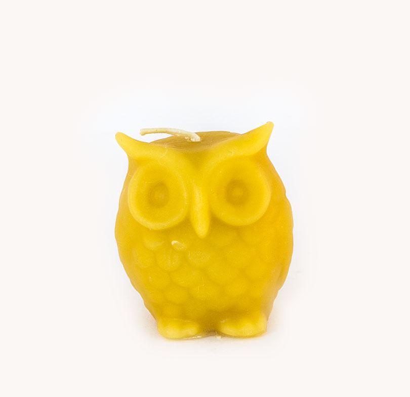 owl beeswax candle handmade Tasmania