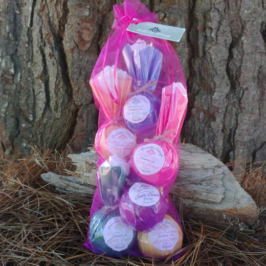 Variety Pack 6 x 80g Fizzy Bath Bombs Natural Handmade Tasmania